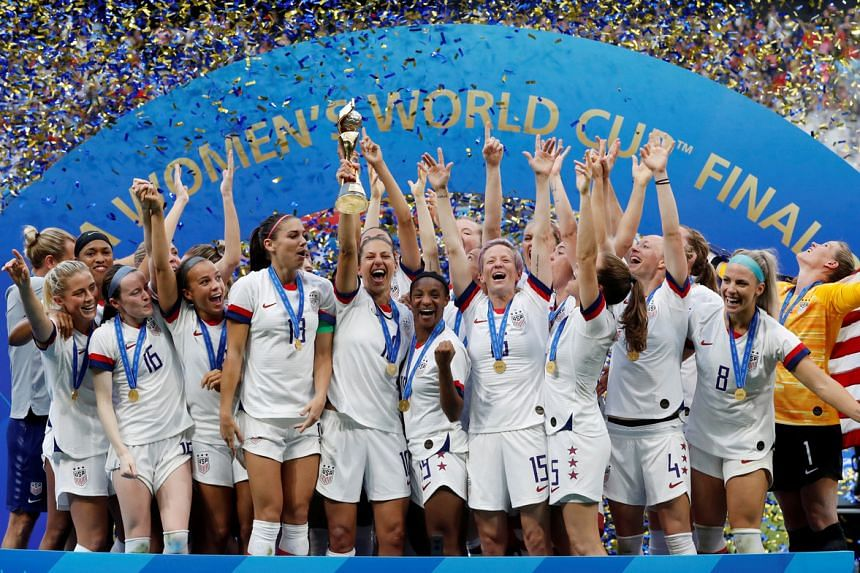 The US women's football team celebrates winning the women's World Cup in France on July 7, 2019.