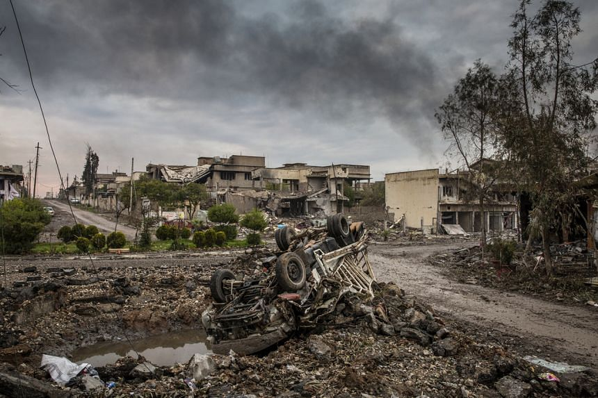 A photo taken on March 23, 2017, shows the aftermath of fierce fighting between Iraqi special forces and ISIS in Mosul, Iraq.