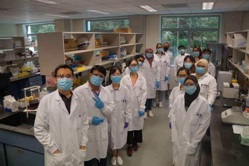 The team from Singapore-based biotechnology firm Tychan at the Temasek Life Sciences Institute at the Kent Ridge campus of National University of Singapore.