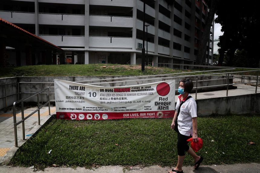 A banner showing the number of dengue cases in the Ang Mo Kio area.