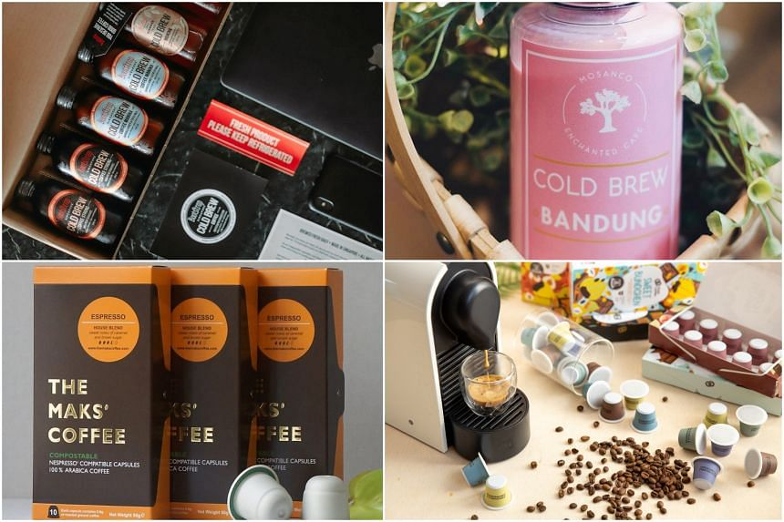 (From top left, clockwise) Bootstrap's Mix Pack, cold brew bandung from Mosanco Enchanted Cafe, Hook Coffee Shotpods and Makspresso trio.