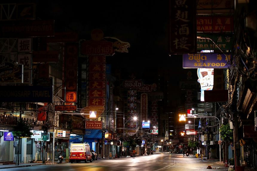 Neon signs are turned off in Yaowarat Road, Bangkok, on April 3, 2020.