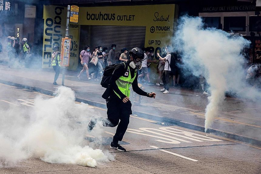 Turmoil on the streets of Hong Kong last month during a protest against China's new security legislation. Such geopolitical risks may have big implications for global supply chains and allocation of production going forward, says the chief economist