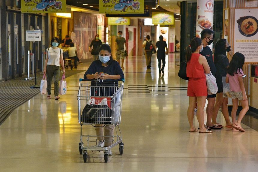 Shoppers at Kallang Wave Mall on June 2, 2020.