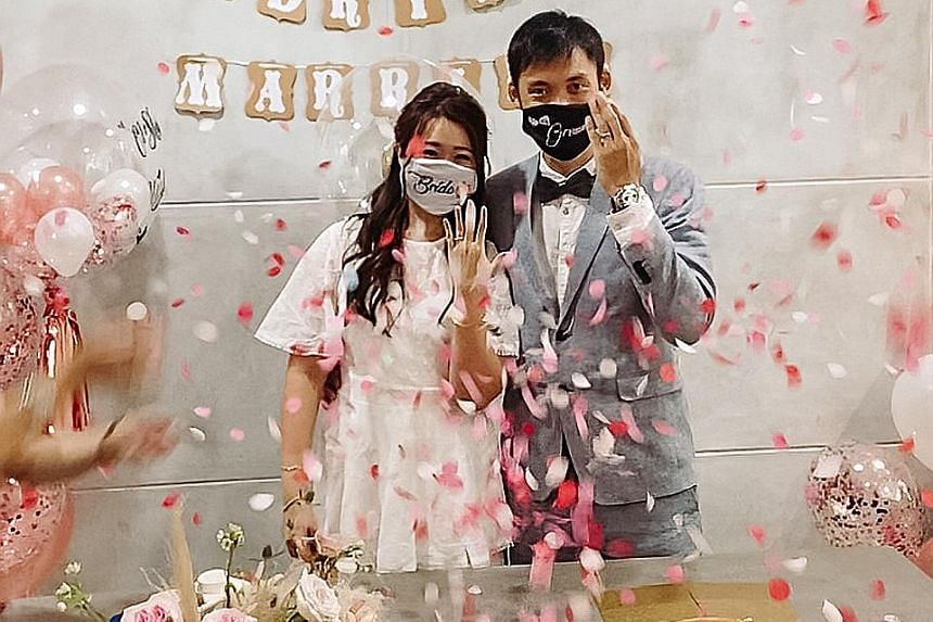Since April, Mr Melvin Lau of wedding studio Multifolds Productions has been shooting solemnisations, such as that of Mr and Mrs Chen last weekend, remotely via videoconferencing app FaceTime.