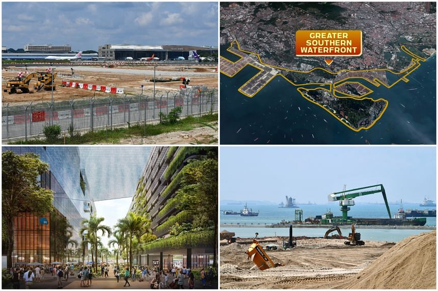 Singapore's major infrastructure projects, including (clockwise from top left) Changi Airport's Terminal 5, the Greater Southern Waterfront, the Tuas Mega Port and the Punggol Digital District.