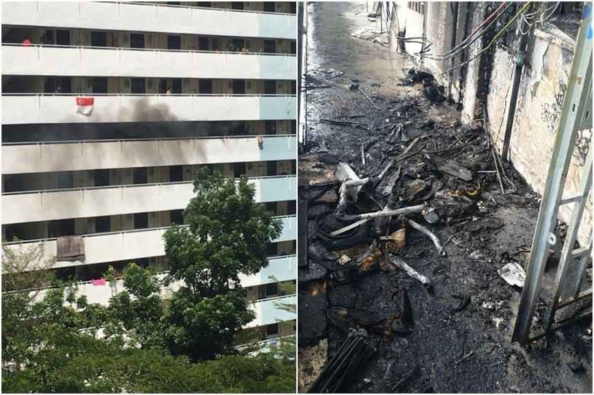 The SCDF were alerted to the fire at Block 1 Eunos Crescent at about 3.05pm.