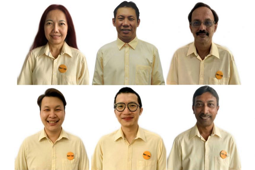 The Reform Party's first batch of candidates: (clockwise from top left) Madam Noraini Yunus, Mr Darren Soh, Mr Gurdev Singh, Mr Mahaboob Batcha, Mr Charles Yeo and party chairman Andy Zhu.