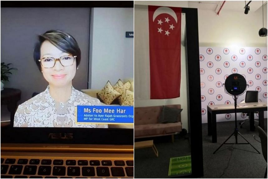 West Coast GRC MP Foo Mee Har held an online dialogue on how Covid-19 will impact the Home Improvement Programme, while Singapore People's Party chairman Jose Raymond has set up a small studio to film video messages in his office.