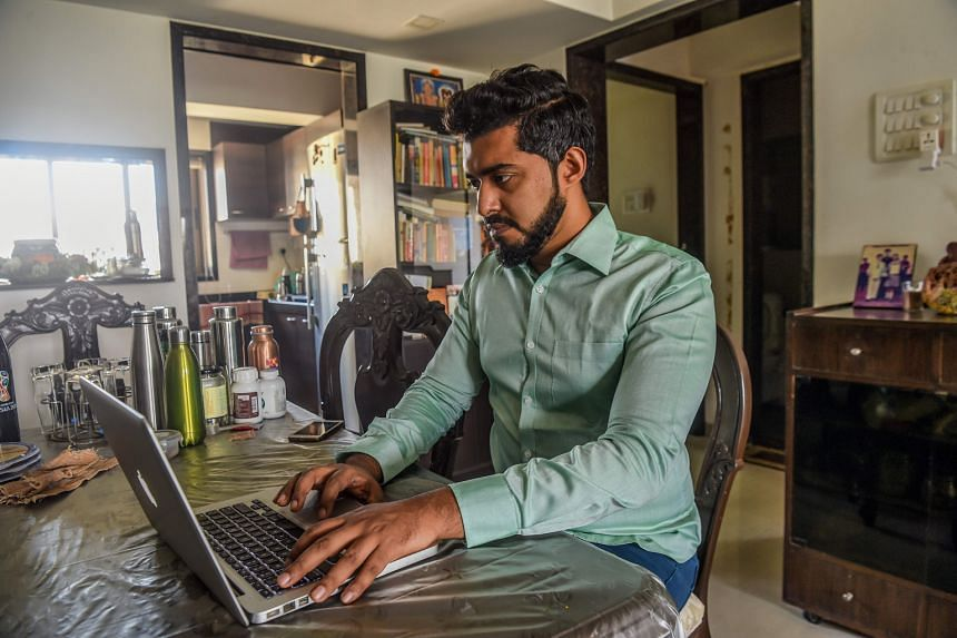 Mumbai communications executive Suraj Balakrishnan working from his home earlier this year amid India's lockdown.