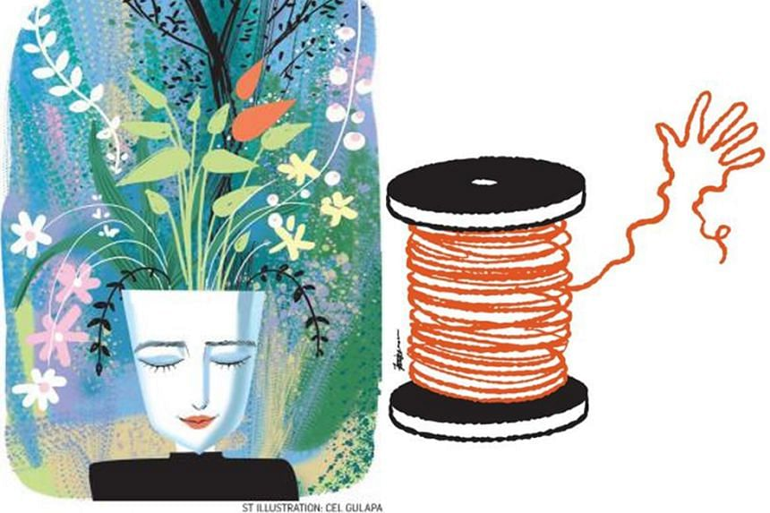 Graphics for Our Gardens, Our Homes by Christine Chia (left) and Copper by Marc Nair (right).