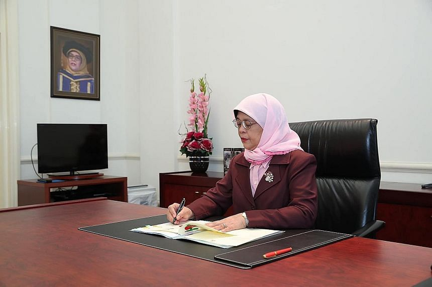 President Halimah Yacob gave her assent to the Second Supplementary Supply (FY 2020) Bill, formally authorising the Fortitude Budget. PHOTO: HALIMAH YACOB/FACEBOOK