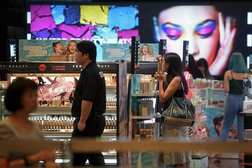 In a photo taken on Aug 1, 2019, patrons shop in the Sephora outlet at Bugis+.