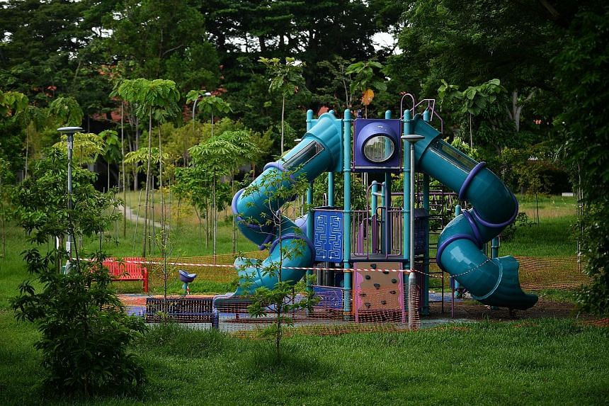 A cordoned-off playground near Changi Village Hawker Centre on Tuesday. Playgrounds in parks and Housing Board estates will reopen from tomorrow, when phase two kicks in. However, public facilities such as libraries and museums will reopen progressiv