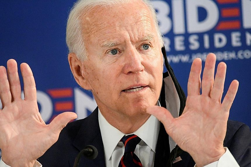 Democratic presidential candidate Joe Biden pushing his message across at a campaign event in Philadelphia on June 11. PHOTO: REUTERS