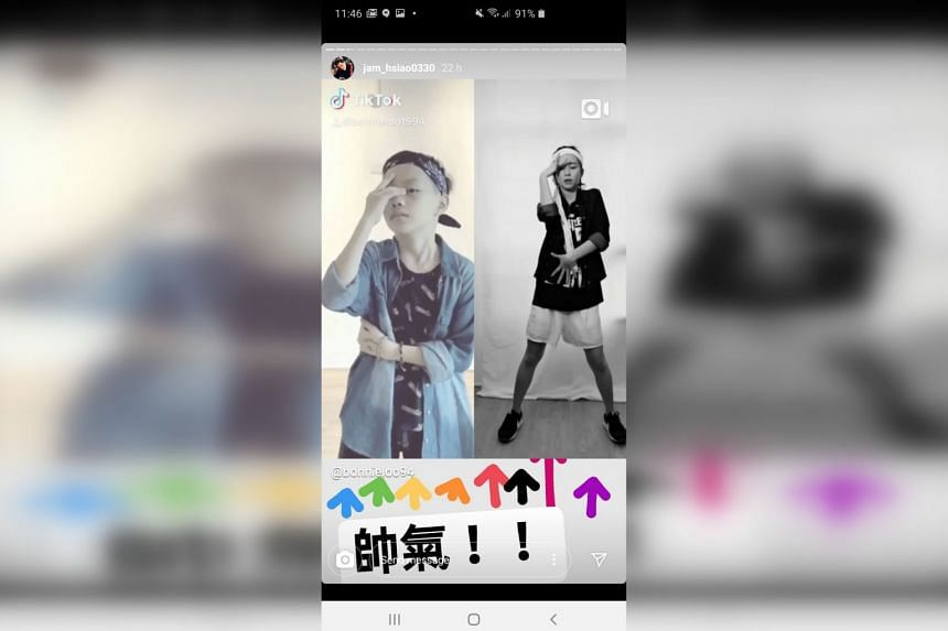 A screenshot of singer Jam Hsiao reposting Singaporean actress and singer Bonnie Loo (right) dancing with a young boy to Hsiao's latest song.