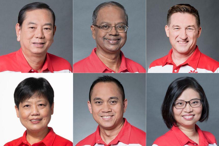 The six candidates are (clockwise from top left) Mr Francis Yuen Khin Pheng, Mr Sri Nallakaruppan, Mr Bradley Bowyer, Ms Hazel Poa, Mr Muhammad Taufik Supan and Ms Gigene Wong.