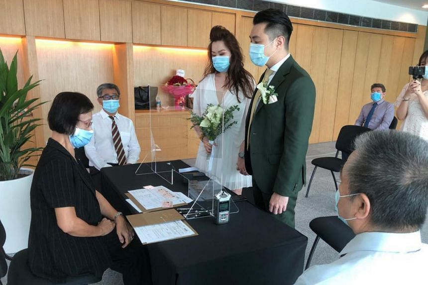 Mr Kyle and Ms Marilyn getting married at the National Museum on June 15, 2020.