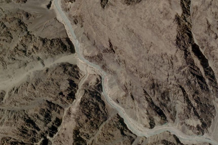A satellite image of Galwan Valley in Ladakh, India, on June 16, 2020.