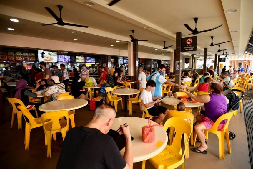 Customers dining at a coffee shop in Tampines on June 19, 2020.