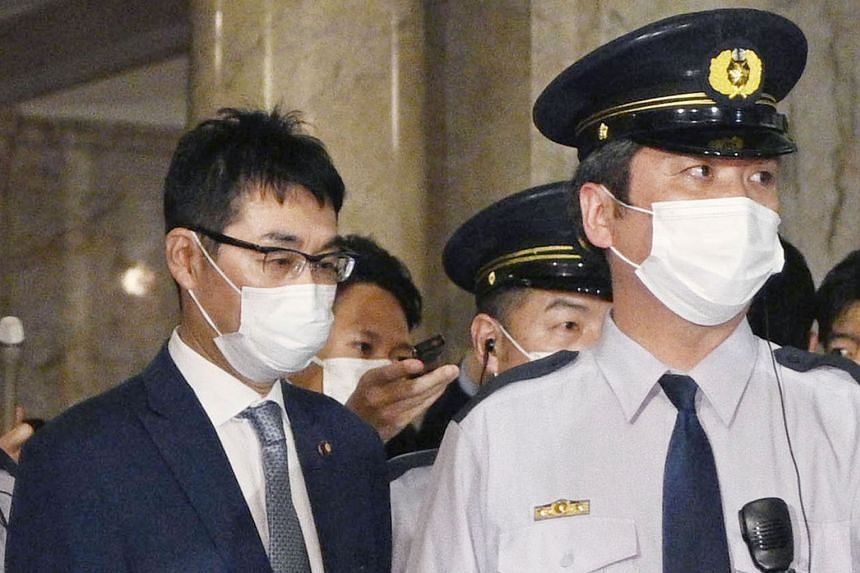 Former justice minister Katsuyuki Kawai was arrested on vote-buying charges. PHOTO: KYODO/REUTERS