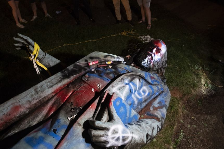 A statue of Confederate General Albert Pike in Washington, DC, was toppled and defaced on June 20, 2020.