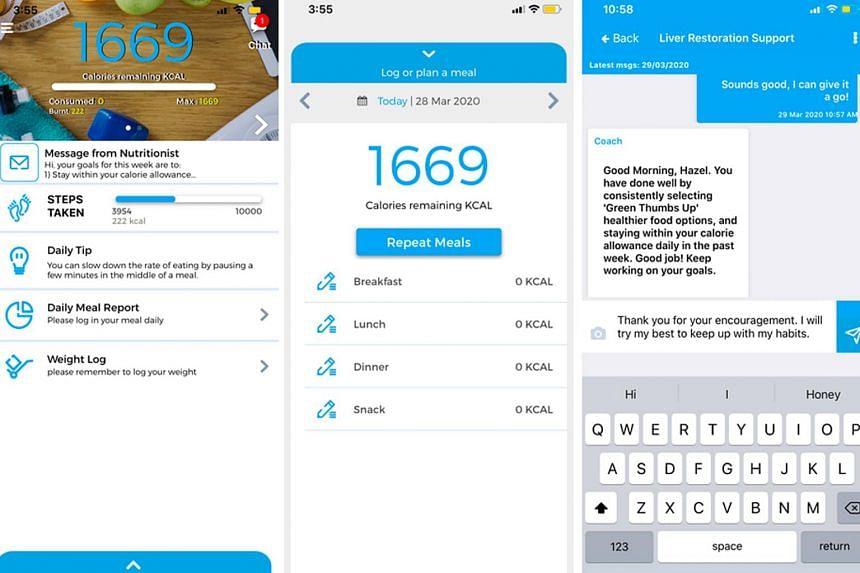 (From left) Screenshot of Nutritionist Buddy app's homepage, food log page, and dietitian support chat channel.