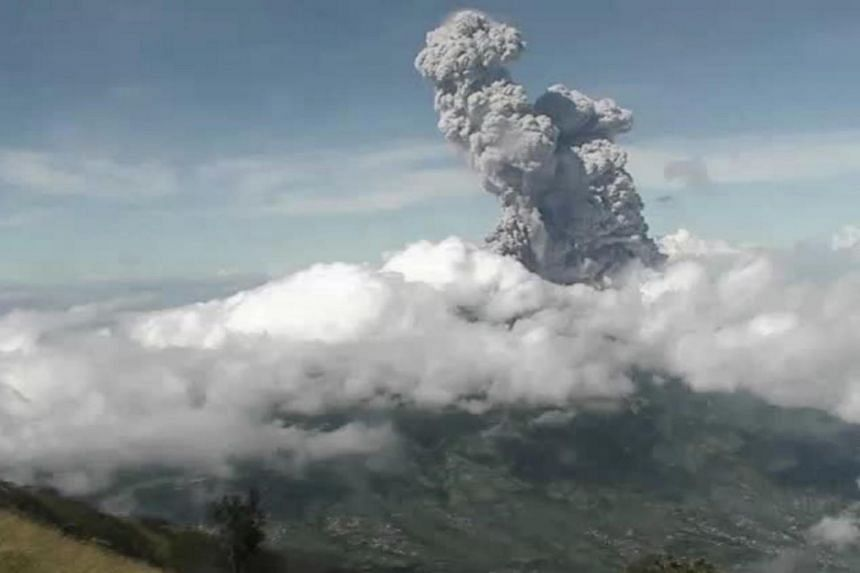 Mount Merapi's two eruptions lasted around seven minutes.