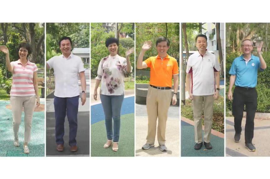 (From left) MPs of Tanjong Pagar GRC Joan Pereira, Chia Shi-Lu, Indranee Rajah, Chan Chun Sing and Melvin Yong, and MP of Radin Mas SMC Sam Tan.