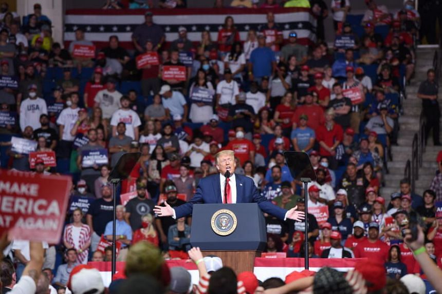 US President Donald Trump speaks at a rally in Tulsa, Oklahoma, on June 20. 2020.