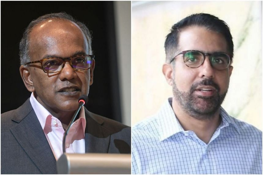 """Mr K. Shanmugam (left) noted that Mr Pritam Singh """"admits now that he hadn't examined these statements before declaring Mr Sa'at a 'loving critic'""""."""