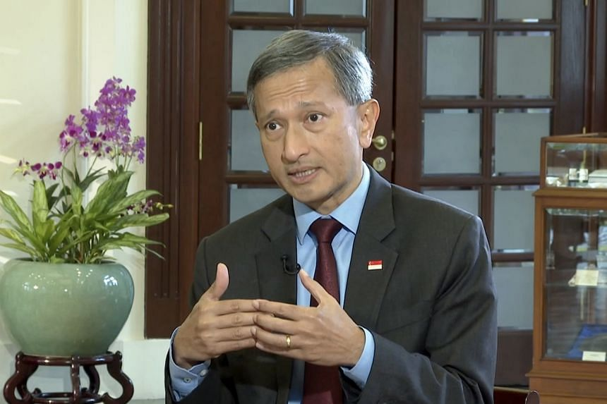 Minister-in-charge of the Smart Nation Initiative Vivian Balakrishnan speaking to The Straits Times in a video interview last Thursday. Singapore's decade-ago investments to bring fibre broadband links to every home have paid off as employees and stu