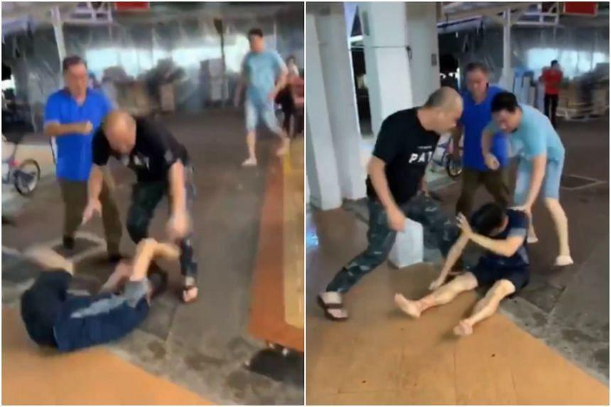 Three Singaporean men were arrested for affray.