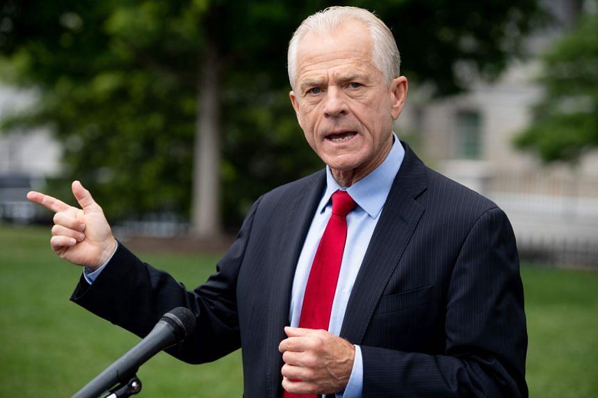 White House Trade Advisor Peter Navarro speaks to the press outside the White House in Washington, on June 18, 2020.