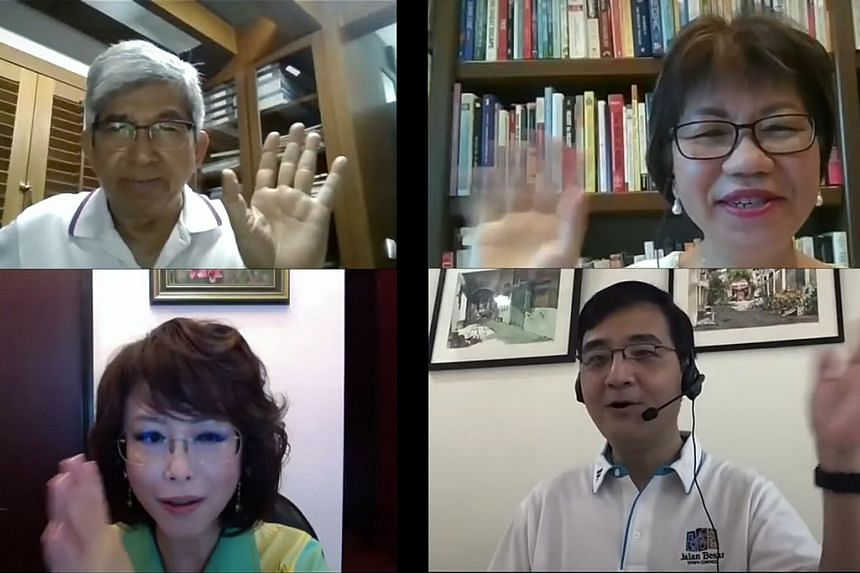 Jalan Besar GRC MPs (clockwise, from top left) Yaacob Ibrahim, Denise Phua, Heng Chee How and Lily Neo speaking about the new masterplan in a video posted on the town council's website.