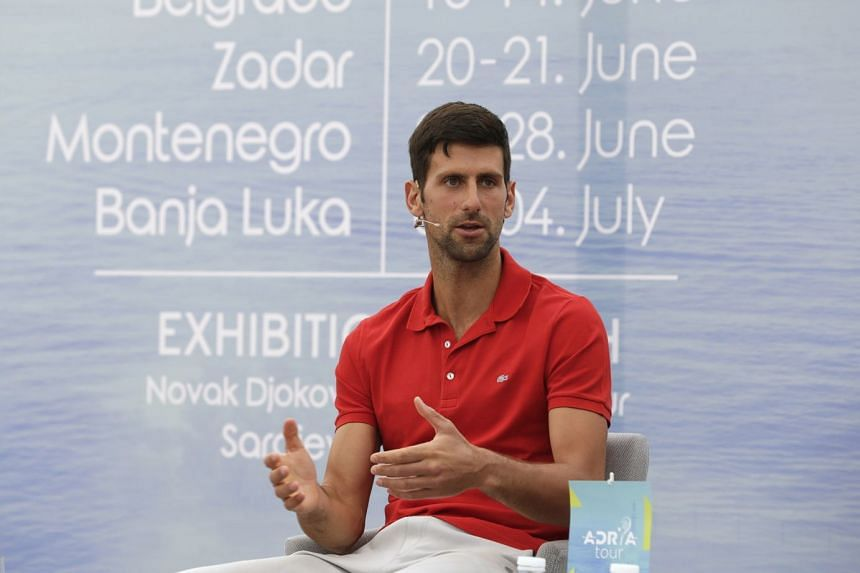 Djokovic speaks during a press conference for the Adria Tour in Belgrade, Serbia, May 25, 2020.