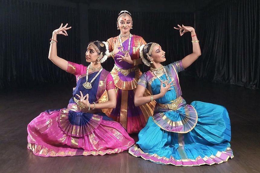 Dancers (from left) Priyadarshini Nagarajah, Davinya Ramathas and Sarenniya Ramathas perform Prati Sandhi (Reunion), which is inspired by the classic Hindu scripture, the Bhagavad Gita.