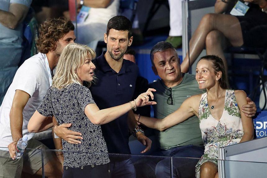 Novak Djokovic with (clockwise from front) his mother Dijana, brother Marko, father Srdjan and wife Jelena at the Adria Tour event in Belgrade on June 14. The event, which was organised by the world No. 1, was criticised for its lack of precautions a
