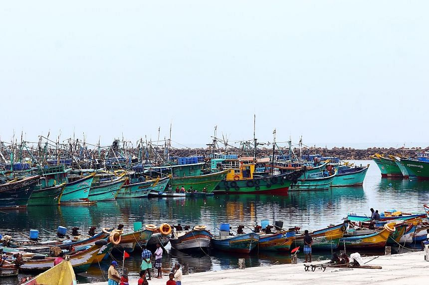 Boats bobbing quietly on the waters around Chennai as fishing has been banned for almost three months in Tamil Nadu to prevent overcrowding at fish markets. With nothing to do, many fisherfolk are spending their time painting their boats or repairing