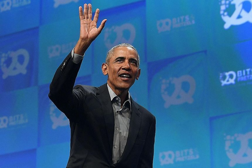 Former US president Barack Obama remains overwhelmingly popular with the Democratic base and will be counted on as a key campaign figure this autumn. PHOTO: AGENCE FRANCE-PRESSE