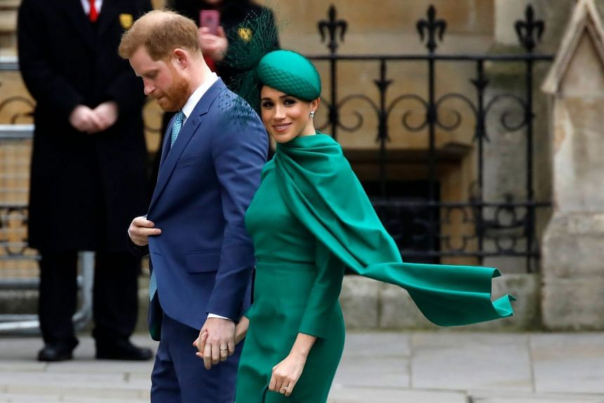 A March 2020 photo shows Harry and Meghan arriving for the annual Commonwealth Service at Westminster Abbey in London.