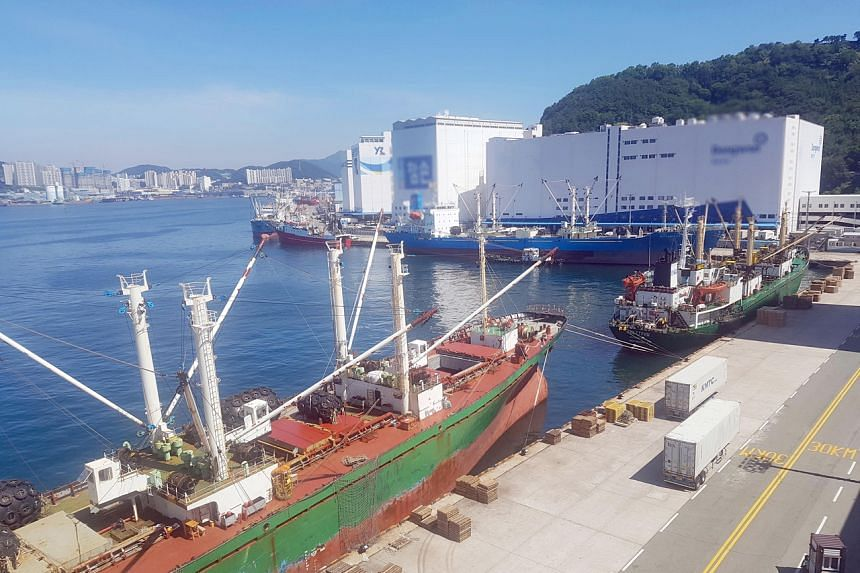 The Russian ship was allowed to dock in Busan after submitting quarantine documents electronically.