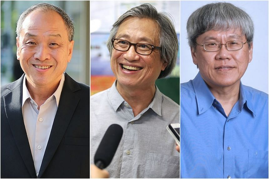 (From left) Former WP chief Low Thia Khiang, Mr Chen Show Mao and Mr Png Eng Huat will be stepping down at the end of their term.