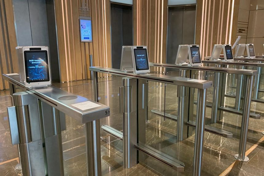 Facial recognition or QR-activated turnstiles enhance contactless access and reduce touch points.