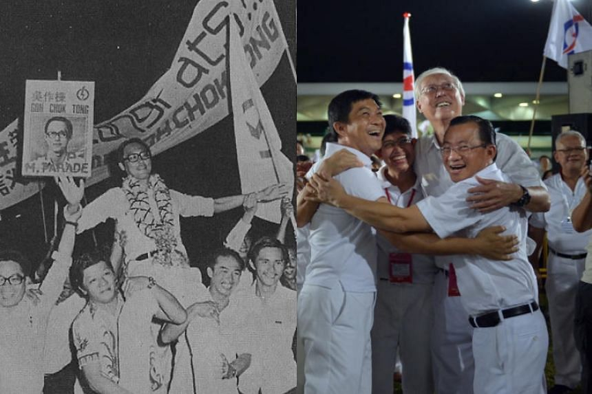 Emeritus Senior Minister Goh Chok Tong during his first general election in 1976 (left) and his last general election in 2015 with the Marine Parade GRC team, including Mr Tan Chuan-Jin, Mr Edwin Tong (hidden), Dr Fatimah Lateef and Mr Seah Kian Peng