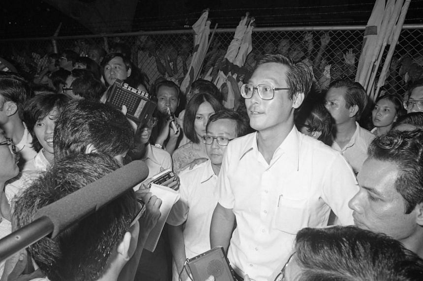 Emeritus Senior Minister Goh Chok Tong at the Anson constituency by-election in 1981.