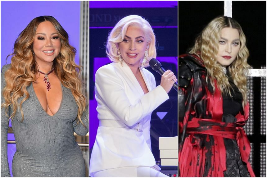 The hackers claimed they have information pertaining to figures such as (from left) Mariah Carey, Lady Gaga and Madonna.