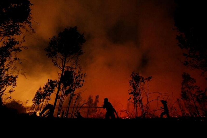 Fires are often set to clear land for palm oil plantations in Indonesia.