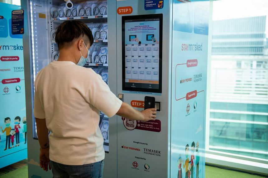 The masks can be collected from any of the 1,200 vending machines.