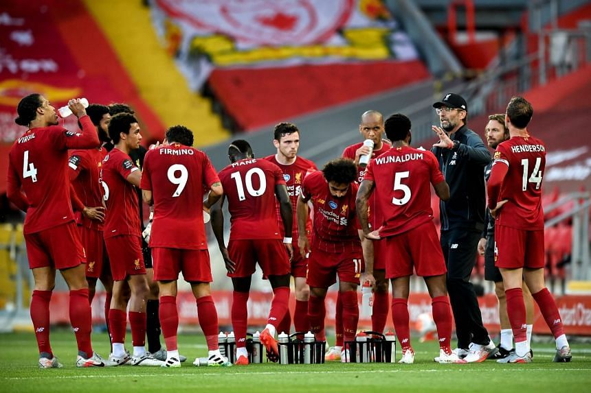 Manager Juergen Klopp gives instructions during a break in Liverpool's match against Crystal Palace on June 24, 2020.